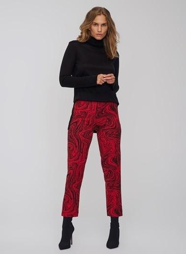 People By Fabrika Desenli Pantolon Kırmızı